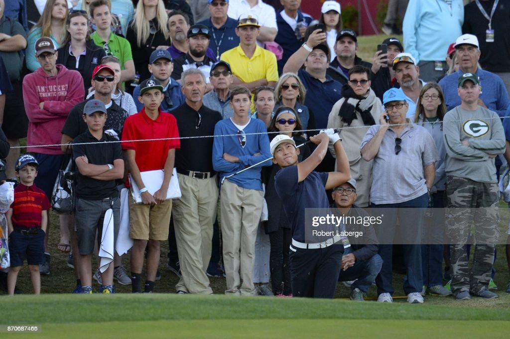 Whee Kim of South Korea hits a shot out of the rough on the 18th and first extra hole during the final round of the Shriners Hospitals For Children Open at the TPC Summerlin on November 5, 2017 in Las Vegas, Nevada.