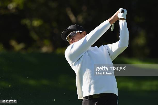Whee Kim of South Korea plays his second shot on the 3rd hole during the third round of the CJ Cup at Nine Bridges on October 21 2017 in Jeju South...