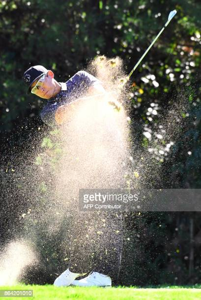 Whee Kim of South Korea tees off on the 7th hole during the third round of the CJ Cup at Nine Bridges in Jeju Island on October 21 2017 / AFP PHOTO /...