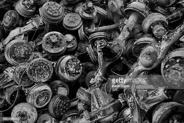 Wheel axles from high polluting vehicles taken off the road by authorities are seen piled up at an auto scrapyard on September 25 2015 in Zhejiang...