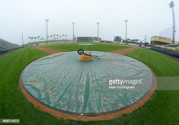 A wheel barrel sis onthe home plate area as the field as it sits covered during the Detroit Tigers Workout Day at Joker Marchant Stadium on February...