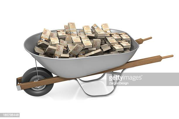 Wheel barrow full of Canadian money
