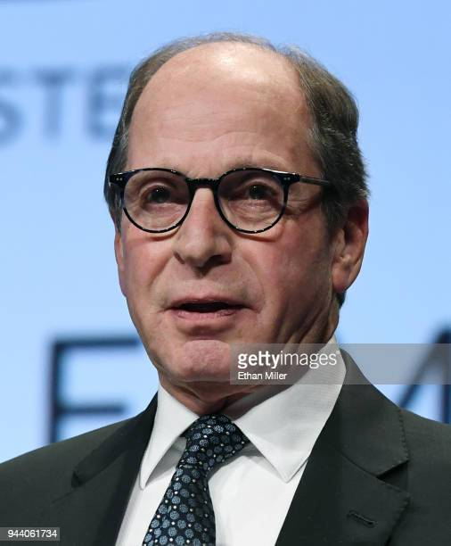 """Wheel of Fortune"""" and """"Jeopardy!"""" executive producer Harry Friedman speaks as he is inducted into the National Association of Broadcasters..."""
