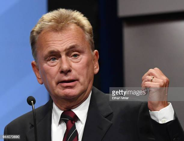 """Wheel of Fortune"""" host Pat Sajak speaks as he is inducted into the National Association of Broadcasters Broadcasting Hall of Fame during the NAB..."""