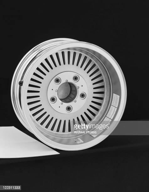 Wheel rim against black background, close-up