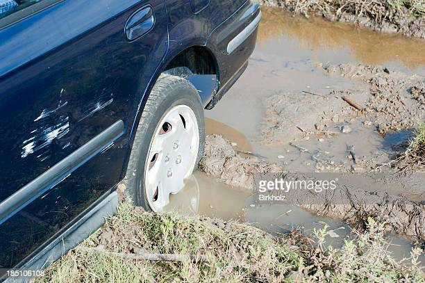 wheel stuck in mud - bog stock photos and pictures