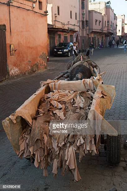 Wheelbarrow and horse-cart carrying hides at a tannery in Marrakech