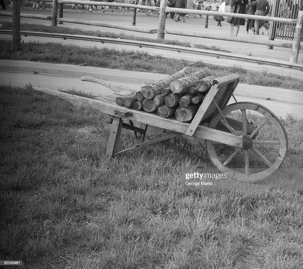 Wheelbarrow with logs : Stock Photo