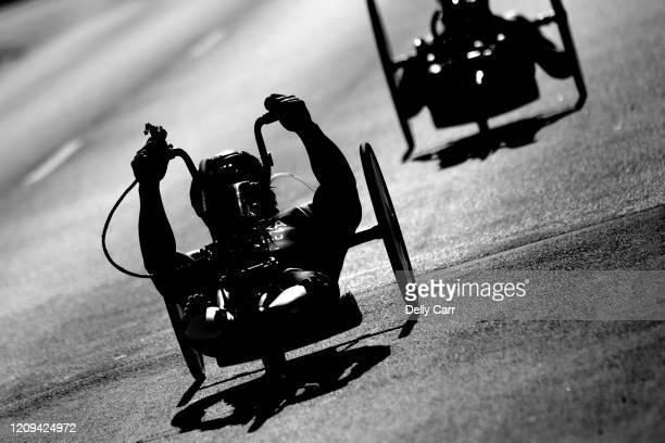 Wheelchair athletes racing during 2020 Devonport ITU World Paratriathlon Series on February 29, 2020 in Devonport, Australia.