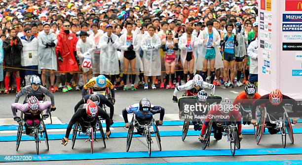 Wheelchair athletes start during the Tokyo Marathon 2015 on February 22 2015 in Tokyo Japan