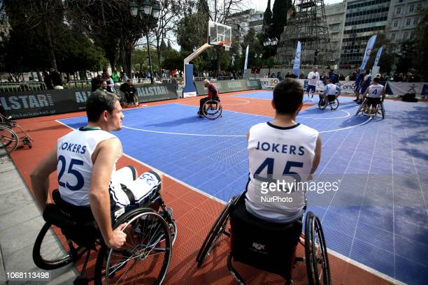 Wheelchair Basketball at Syntagma Square in Athens Greece on December 3 2018 on the occasion of the International Day for Persons with Disabilities...