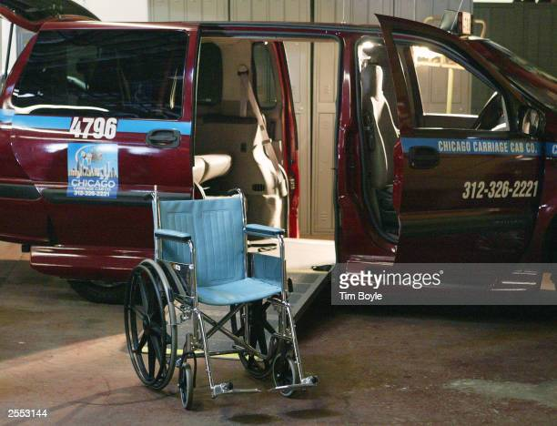 A wheelchair is seen outside a Chicago Carriage Cab van modified for wheelchairclient transportation at Chicago Carriage Cab headquarters October 1...