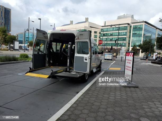 Wheelchair medical transport vehicle for disabled persons, with ramp extended, at UCSF Medical Center in San Francisco, California, January 9, 2020.