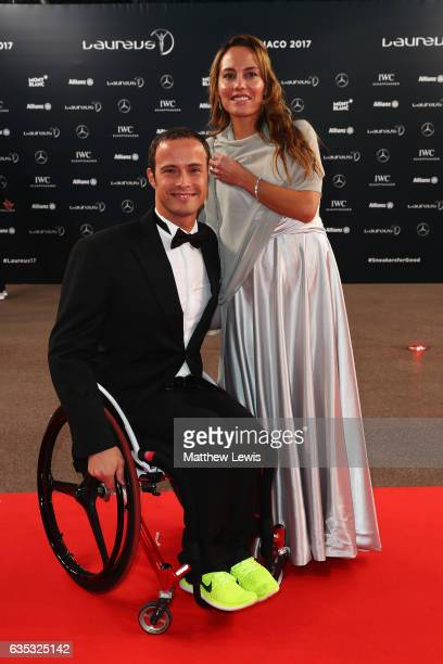 Wheelchair racer Marcel Hug of Switzerland attends the 2017 Laureus World Sports Awards at the Salle des EtoilesSporting Monte Carlo on February 14...