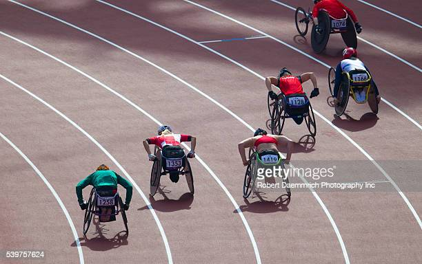 Wheelchair racers in the women's 800 meters T54 first rounds at the London Paralympics
