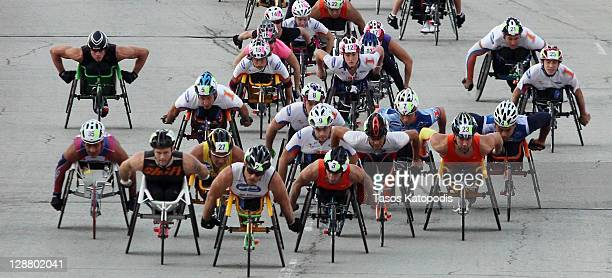 Wheelchair racers participate in the Bank of America Chicago Marathon on October 9 2011 in Chicago Illinois