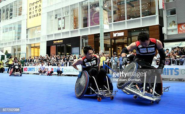 Wheelchair rugby is performed during the 'No Limits Special Ginza Tokyo' Paralympic Promotion Event on May 2 2016 in Tokyo Japan