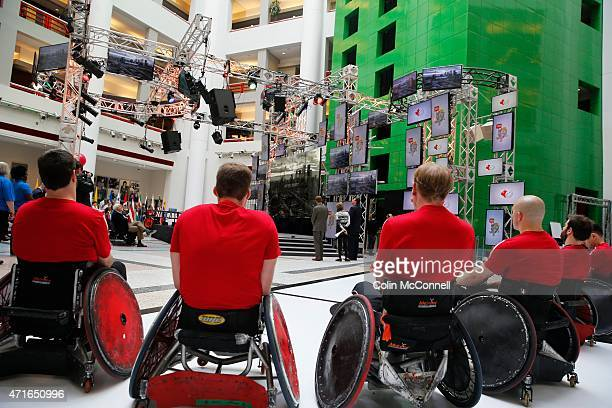 Wheelchair rugby team watch a short video presentation... Launch event held at the CBC on Front St for the 100 days to ParaPan with speakers and a...