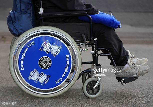 A wheelchair with logo of Birmingham City Football Club is pictured during the Sky Bet Championship match between Birmingham City and Middlesbrough...