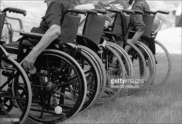 """Wheelchairs in the garden at """"Sacred heart"""" Retirement home in Gentilly, France on September 01, 1998."""