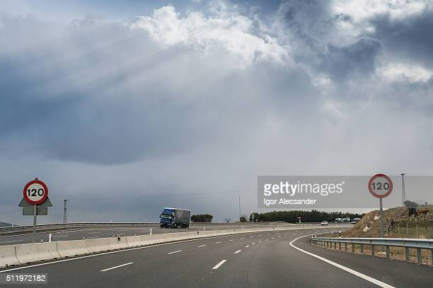 18 wheeler down the Autopista A-6 highway, Madrid, Spain