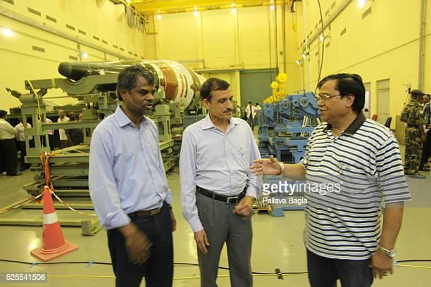 Wheeler Island, Odisha, India L to R Dr. V G Sekharan, missile tecghnologist; Dr. Avinash Chander, chief designer, the Agni-5 missile; and Dr. V K...