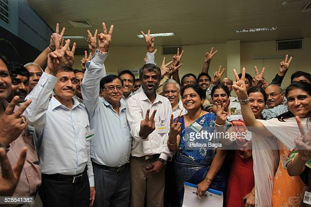 Wheeler Island Odisha India Scientists celebrating the moment India successfully launches its longest range nuclear weapon capable intercontinental...