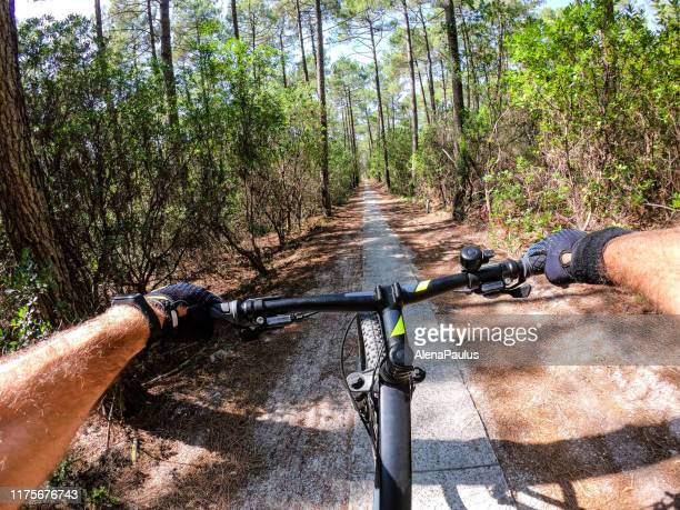 wheelie handle bar on a bicycle seen from the point of view of the cyclist bicycling trough the forest - gironde stock pictures, royalty-free photos & images