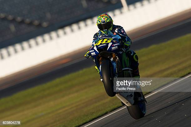 Wheelie of VALENTINO ROSSI MOVISTAR YAMAHA MotoGP YAMAHA during Valencia MotoGP Official Test day 2 at Circuit Ricardo Tormo Valencia