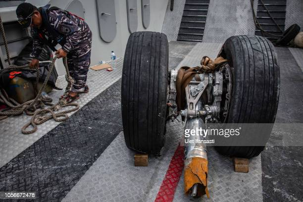 Wheels from the Lion Air flight JT 610 are recovered from the sea on November 3 2018 in Jakarta Indonesia Indonesian authorities said on Saturday...