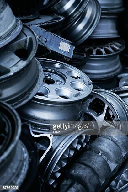 wheels in a scrap yard