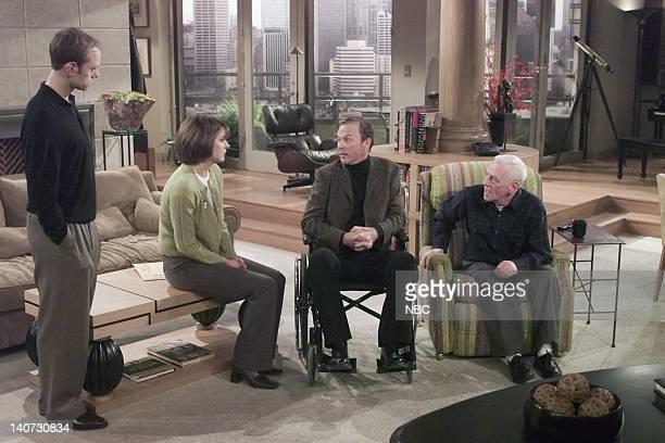 FRASIER Wheels of Fortune Episode 16 Pictured David Hyde Pierce as Dr Niles Crane Jane Leeves as Daphne Moon Michael Keaton as Blaine Sternin John...