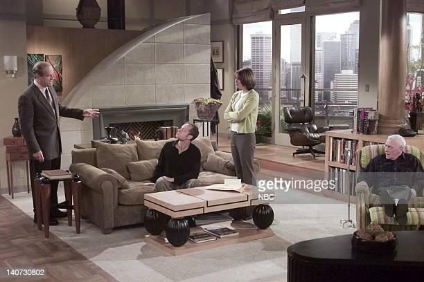 FRASIER Wheels of Fortune Episode 16 Pictured Kelsey Grammer as Dr Frasier Crane David Hyde Pierce as Dr Niles Crane Jane Leeves as Daphne Moon John...