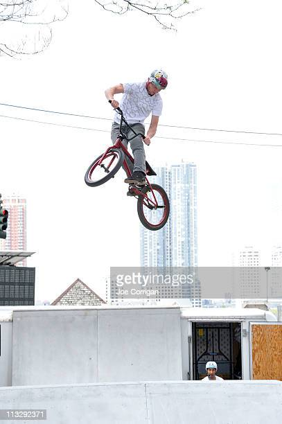 'Wheels of Freestyle' perform a BMX stunt show at the Tribeca/ESPN Sports Day during the 2011 Tribeca Film Festival on N Moore Street on April 30...