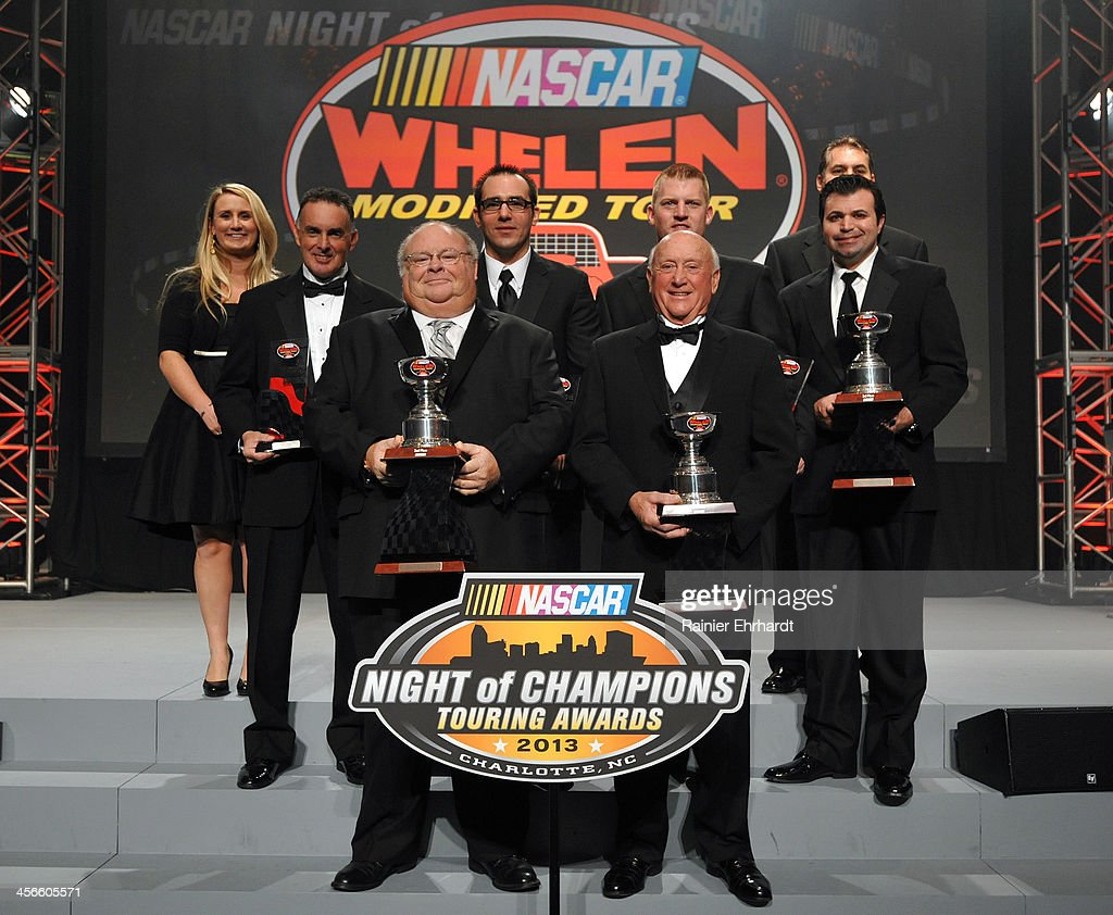 Whelen Modified Tour second through tenth place finishers and top three team owners pose for a photograph during the NASCAR Night of Champions at Charlotte Convention Center on December 14, 2013 in Charlotte, North Carolina.