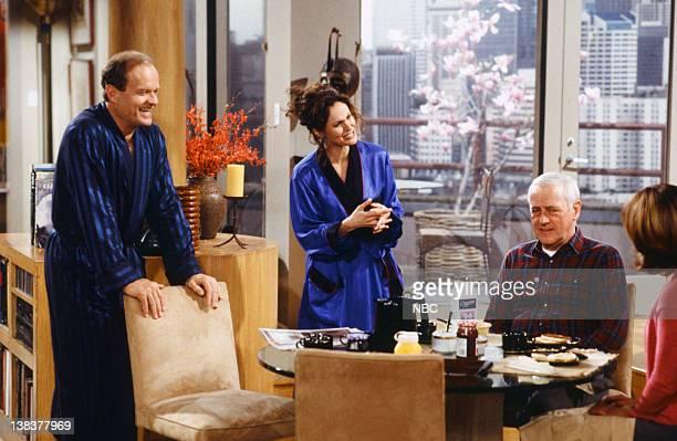 FRASIER When a Man Loves Two Women Episode 21 Pictured Kelsey Grammer as Dr Frasier Crane Amy Brenneman as Faye Moskowitz John Mahoney as Martin...