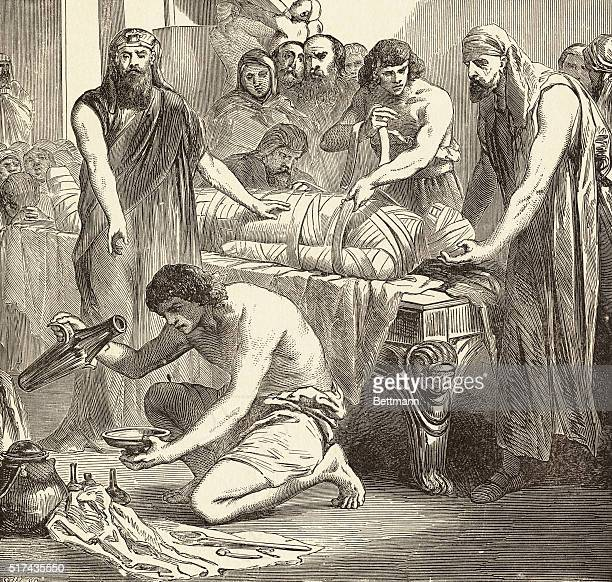 When an Egyptian died the friends of the deceased went at once to the embalmer By him they were shown a set of models that is wooden images painted...