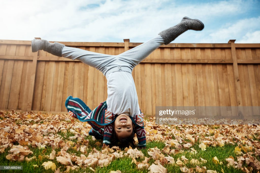 When autumn comes so does the leaf crunching fun : Stock Photo