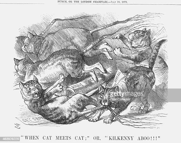 When Cat Meets Cat or Kilkenny Aboo 1879 A bunch of cats each with a tail of a cat o' nine tails squabble and fight over the Army Discipline Bill...