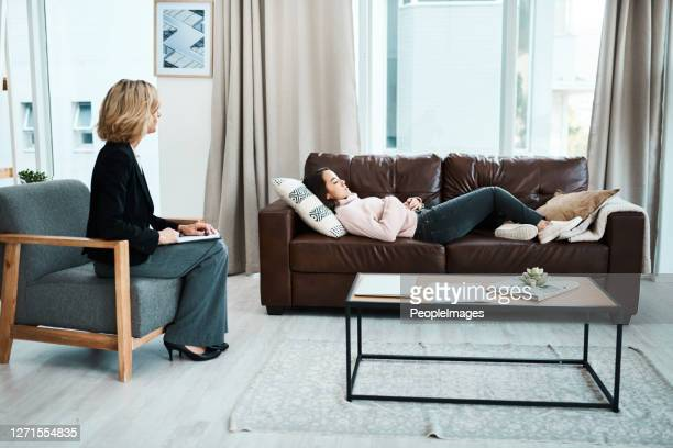 when depression strikes, hypnotherapy may help - psychiatrist's couch stock pictures, royalty-free photos & images