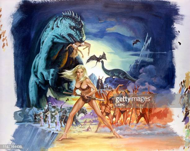 When Dinosaurs Ruled The Earth poster center front with weapon Victoria #10Vetri fourth and fifth from center background #10left Imogen Hassall Robin...