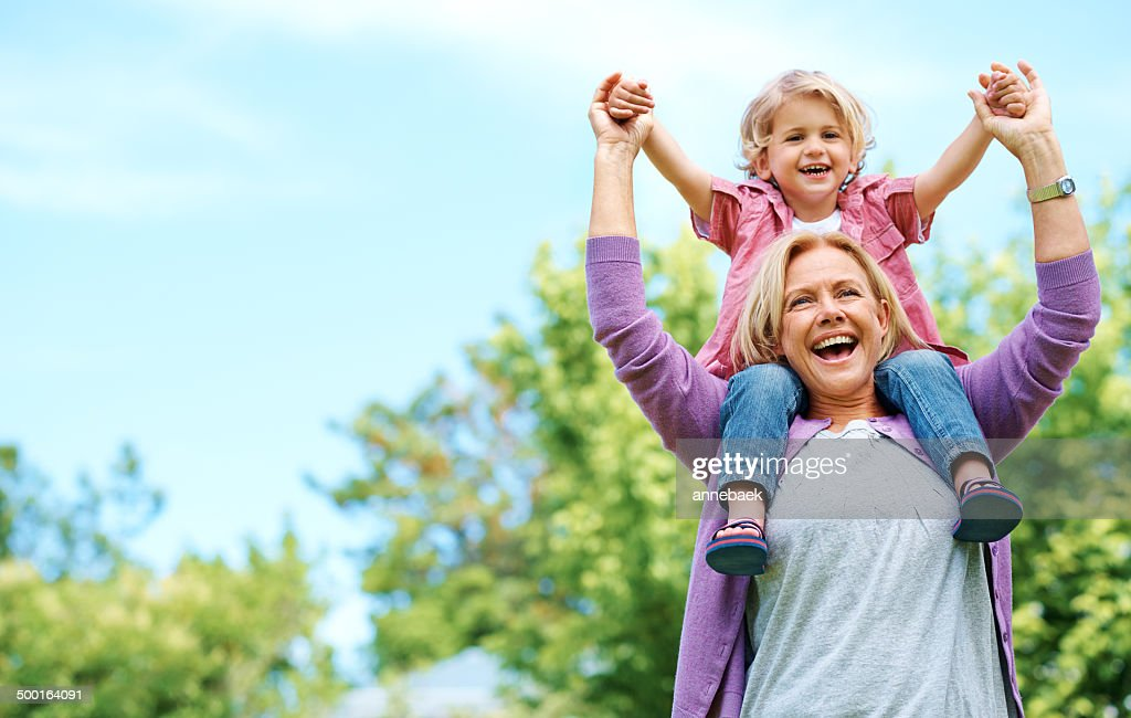 When grandparents arrive, so does fun : Stock Photo