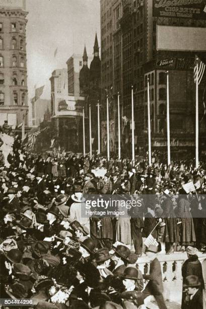 When peace came' New York City USA 1918 Crowds jamming 5th Avenue in New York City to celebrate the signing of the Armistice on 11 November 1918