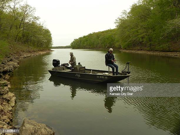 When spring arrives at Lake of the Ozarks Roy Snider left and Jim Thorpe often can be found in coves in the Grand Glaize arm fishing for spawning...