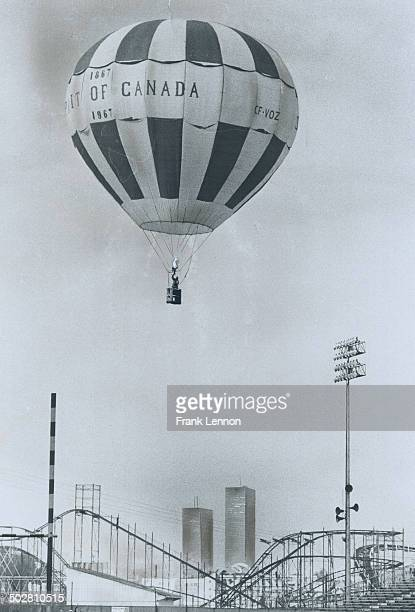 When the balloon goes upà Owner Stan Sheldrake of Smithville lights a propane burner that forces hot air into his balloon as he takes it for a test...