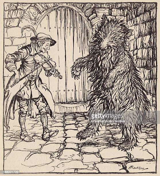 When The Bear Heard The Music He Could Not Help Beginning To Dance Illustration By Arthur Rackham From Grimm's Fairy Tale The Cunning Little Tailor