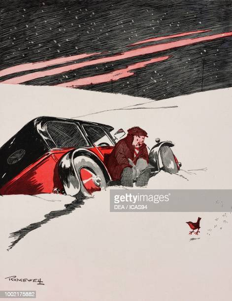 'When the Red Red Robin comes Bob Bob Bobbin' along' motorist in a car stuck in the snow cartoon by William Ridgewell from The Tatler No 1434...