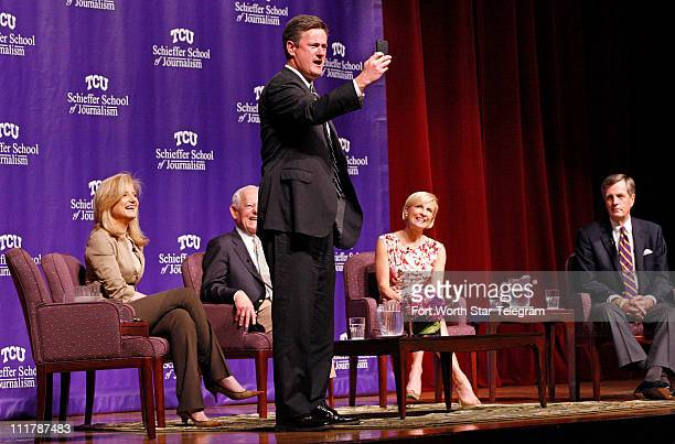 When the subject of social media came up Joe Scarborough center quickly took pictures to Tweet as Arianna Huffington left Bob Schieffer Mika...