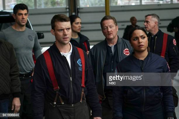 FIRE 'When They See Us Coming' Episode 618 Pictured Damon Dayoub as Jake Cordova Jesse Spencer as Matthew Casey Miranda Rae Mayo as Stella Kidd...