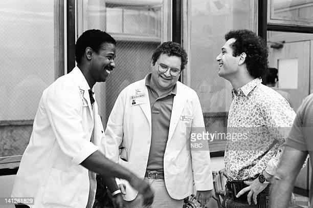 ST ELSEWHERE When You Wish Upon a Scar Episode 2 Pictured Denzel Washington as Dr Philip Chandler Stephen Furst as Dr Elliot Axelrod Howie Mandel as...
